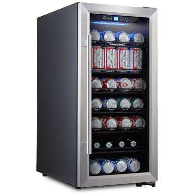 106 Can Compressor Beverage Cooler Stainless Steel and Glass Door with  Handle