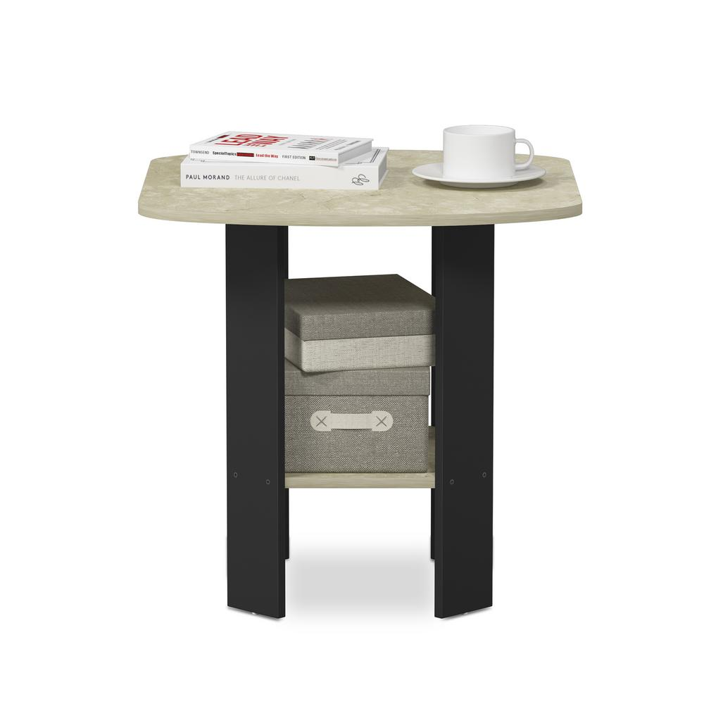 Furinno Simple Design Cream Marble Black End Side Table 11180crm The Home Depot