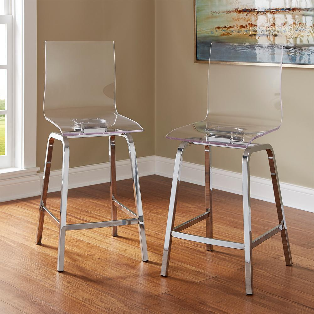 Homesullivan Penny 24 In Chrome Swivel Bar Stool Set Of