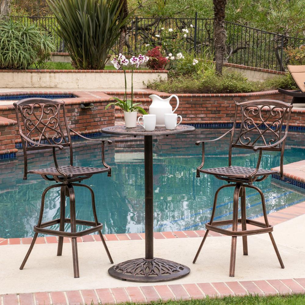 Cheney Swivel Metal Balcony Height Outdoor Bar Set