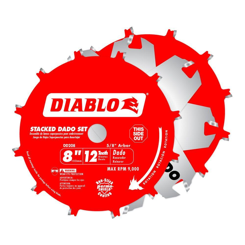 Diablo 8 In X 12 Teeth Stacked Dado Saw Blade Set Dd208h