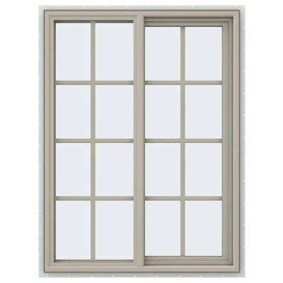 35.5 in. x 47.5 in. V-4500 Series Right-Hand Sliding Vinyl Window with Grids - Tan
