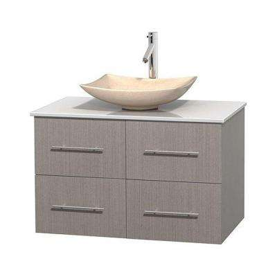 Centra 36 in. Vanity in Gray Oak with Solid-Surface Vanity Top in White and Sink