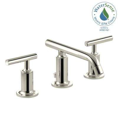 Purist 8 in. Widespread 2-Handle Low-Arc Bathroom Faucet in Vibrant Polished Nickel with Low Lever Handles