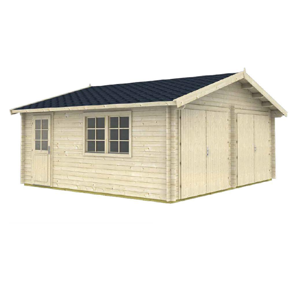 Log Garage D2 19 5 ft  x 17 42 ft  x 10 ft  Wood Log Garage Kit without  Floor