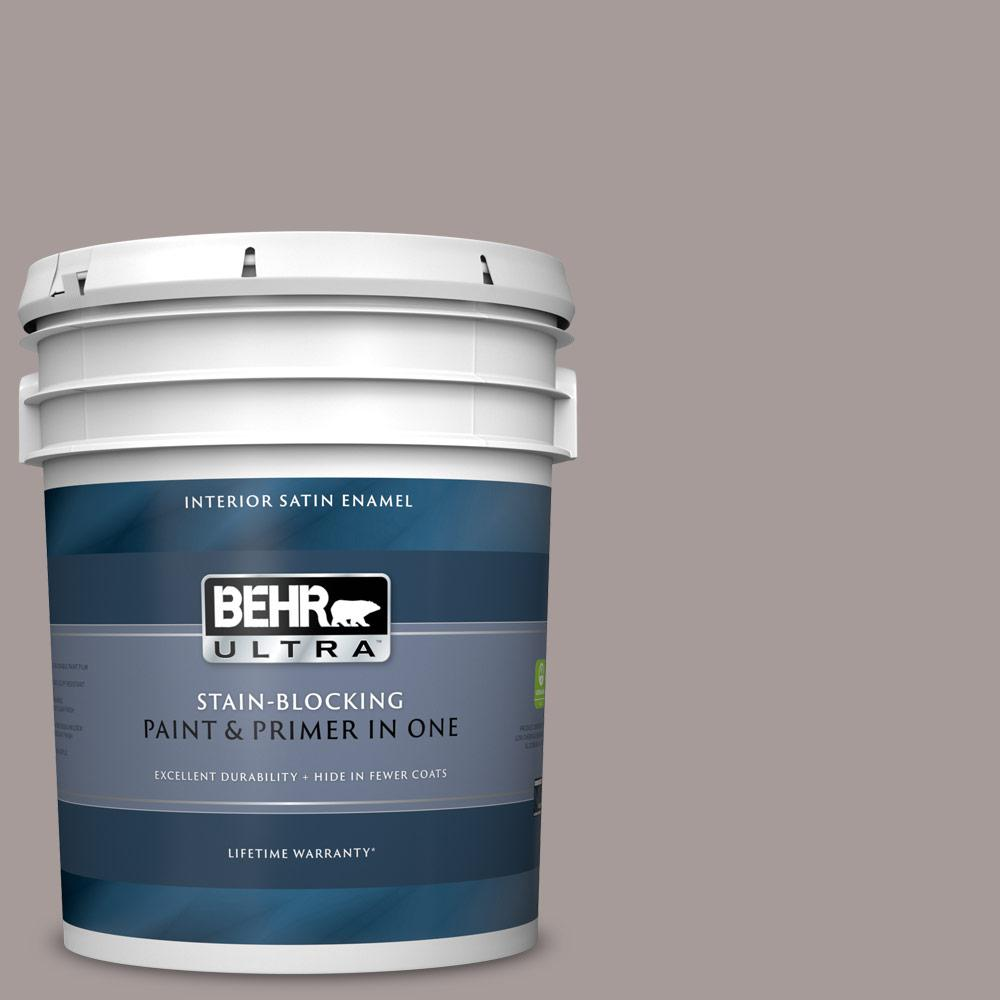 Behr Ultra 5 Gal Ppu17 12 Smoked Mauve Satin Enamel Interior Paint And Primer In One 775405 The Home Depot