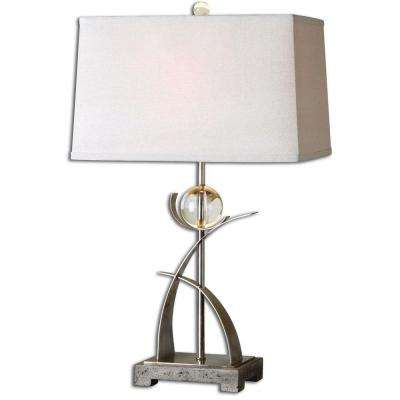 28 in. Antiqued Silver Table Lamp