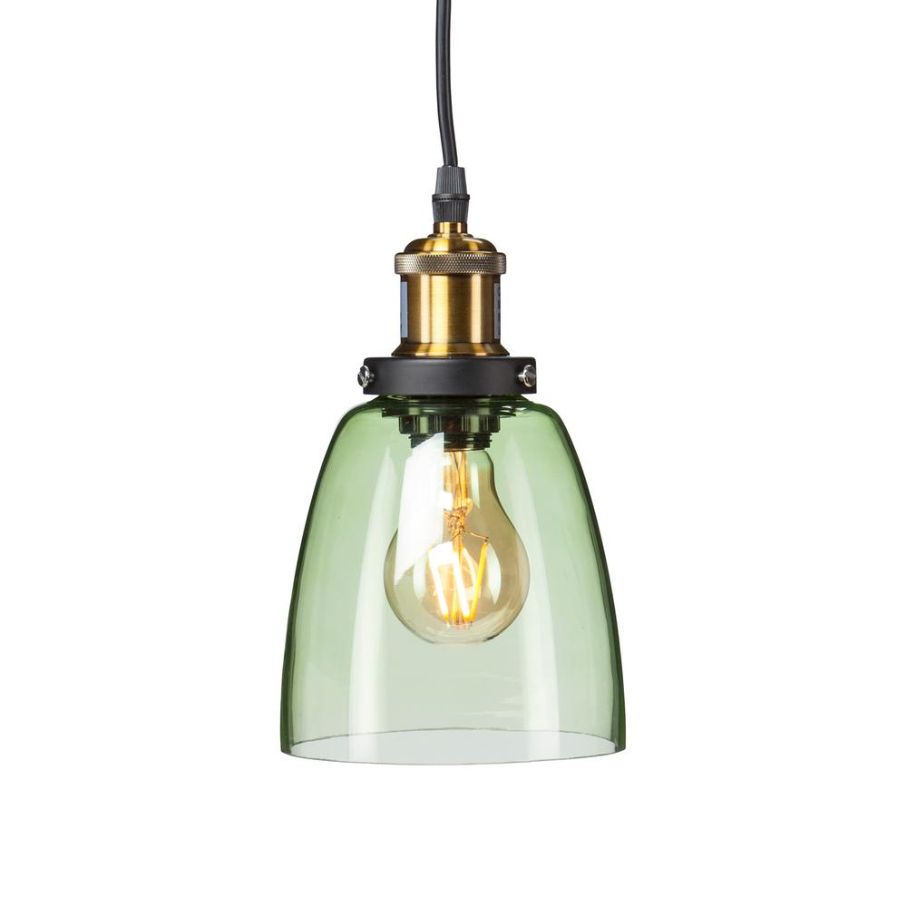 Bailey 1-Light Spring Green Colored Glass Mini Pendant Lamp