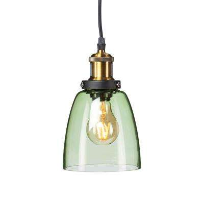 Led green pendant lights lighting the home depot bailey 1 light spring green colored glass mini pendant lamp aloadofball Image collections