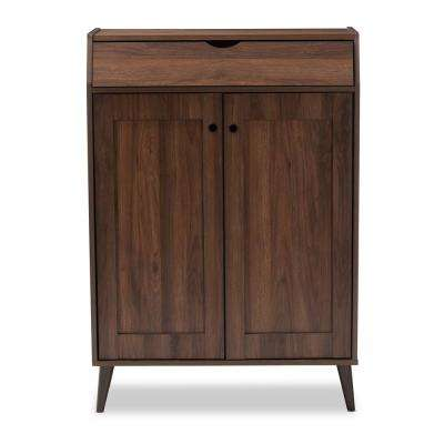 Cormier 37 in. H x 31 in. W 10-Pair Walnut Wood Shoe Storage Cabinet