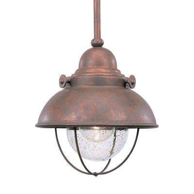 Sea gull lighting integrated led pendant lights lighting the sebring 9 watt weathered copper integrated led pendant mozeypictures Image collections