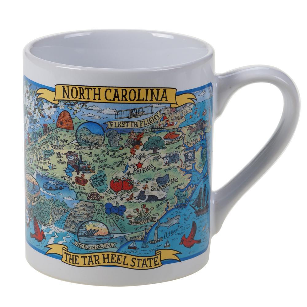 North Carolina Souvenir 20 oz. Multicolored Stoneware Jumbo Mug (Set of 6)