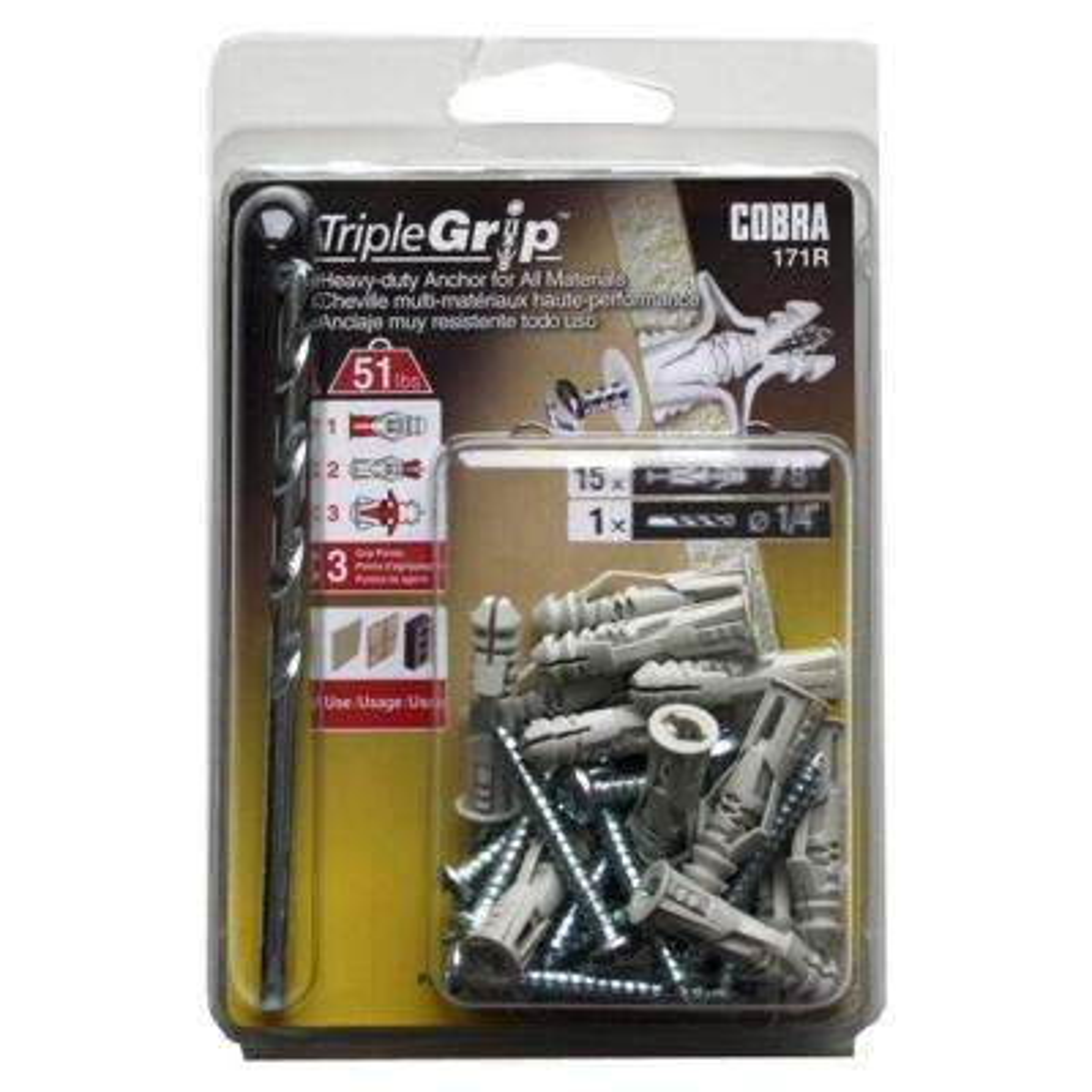 TripleGrip #8 Grey Anchors with Screws (15-Pack)