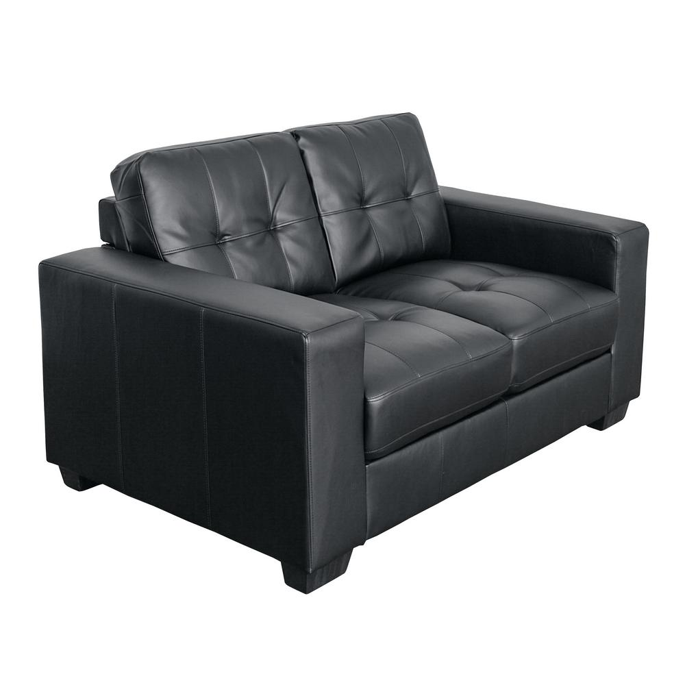Club Tufted Black Bonded Leather Loveseat