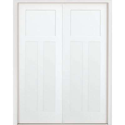 48 in. x 80 in. 3-Panel Mission Shaker White Primed Solid Core Wood Double Prehung Interior Door with Bronze Hinges