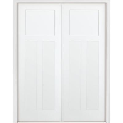 48 in. x 80 in. 3-Panel Mission Shaker White Primed Solid Core Wood Double Prehung Interior Door with Nickel Hinges