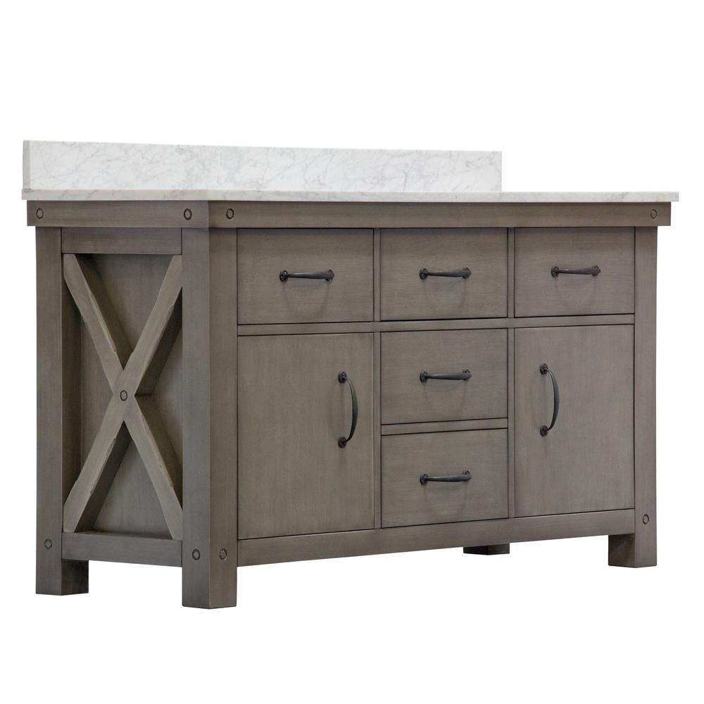 Water Creation Aberdeen 60 in. W x 34 in. H Vanity in Gray with Marble Vanity Top in Carrara White with White Basins Mirror Faucets