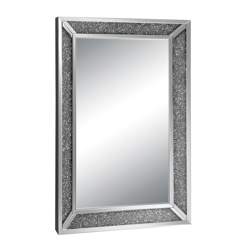 Genevive Rectangle Silver Chrome Decorative Wall Mirror