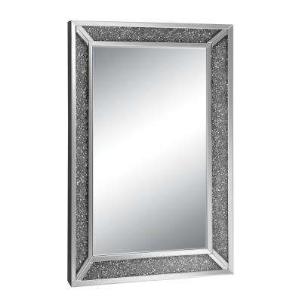 Genevive Rectangle Silver Chrome Decorative Wall Mirror