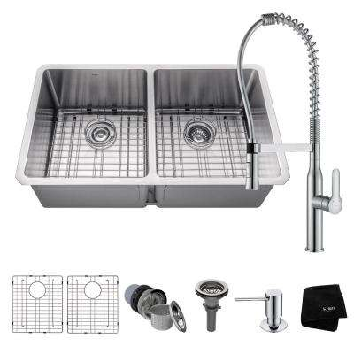 Handmade All-in-One Undermount Stainless Steel 33 in. 50/50 Double Bowl Kitchen Sink with Faucet in Chrome