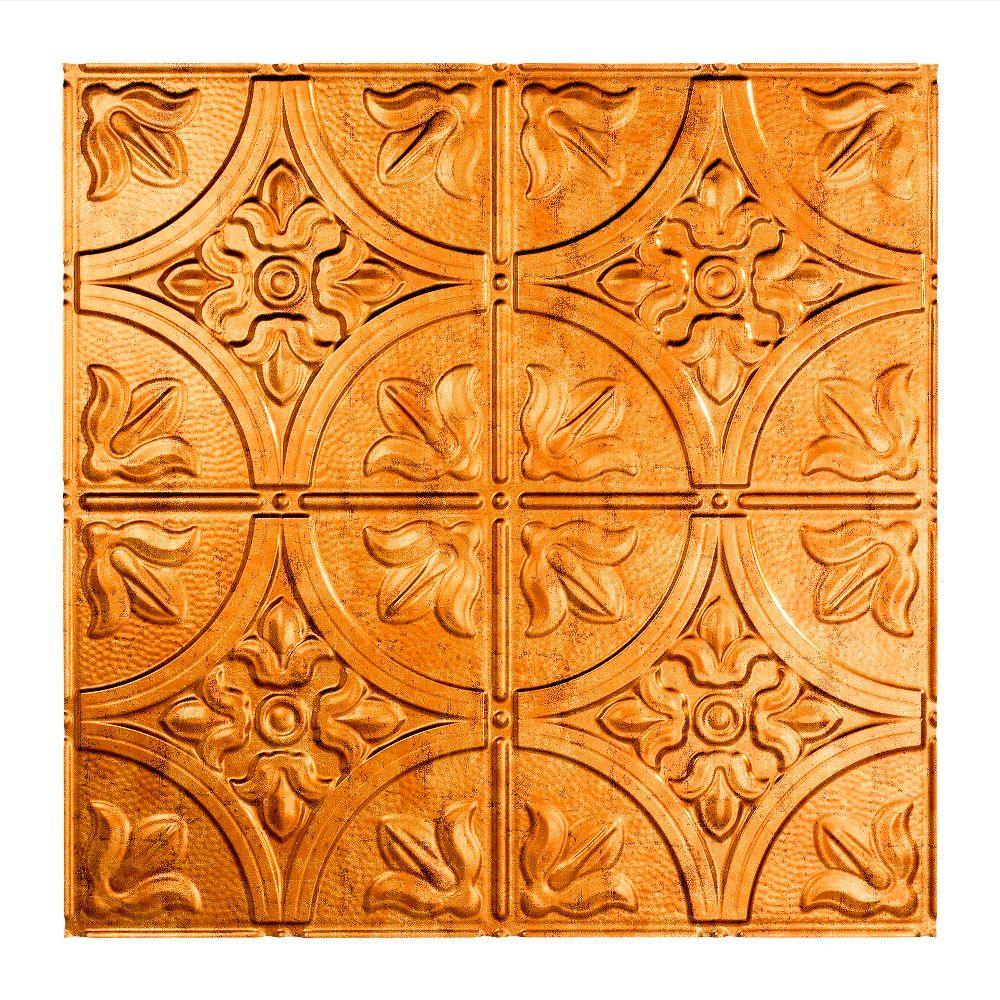 Fasade Traditional Style # 2 - 2 ft. x 2 ft. Vinyl Lay-In Ceiling Tile in Muted Gold