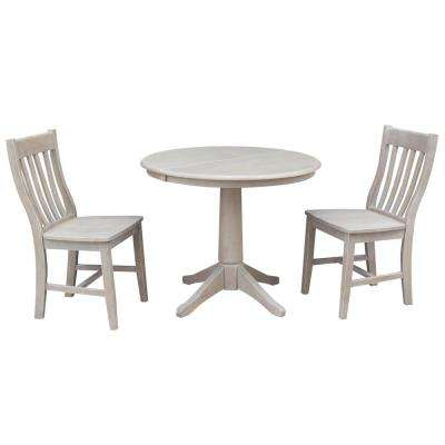 Olivia 3-Piece Oval Weathered Gray Dining Set with Cafe Chairs