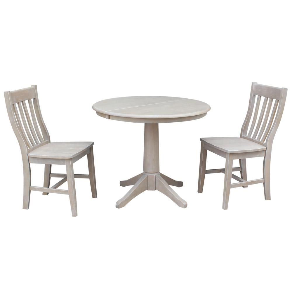 International Concepts Olivia 3 Piece Oval Weathered Gray Dining Set With  Cafe Chairs