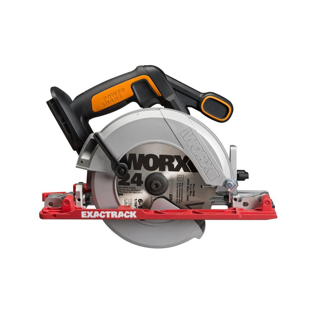WORX WX530L 20-Volt 6-1//2-Inch ExacTrack Cordless Cutting Circular Saw
