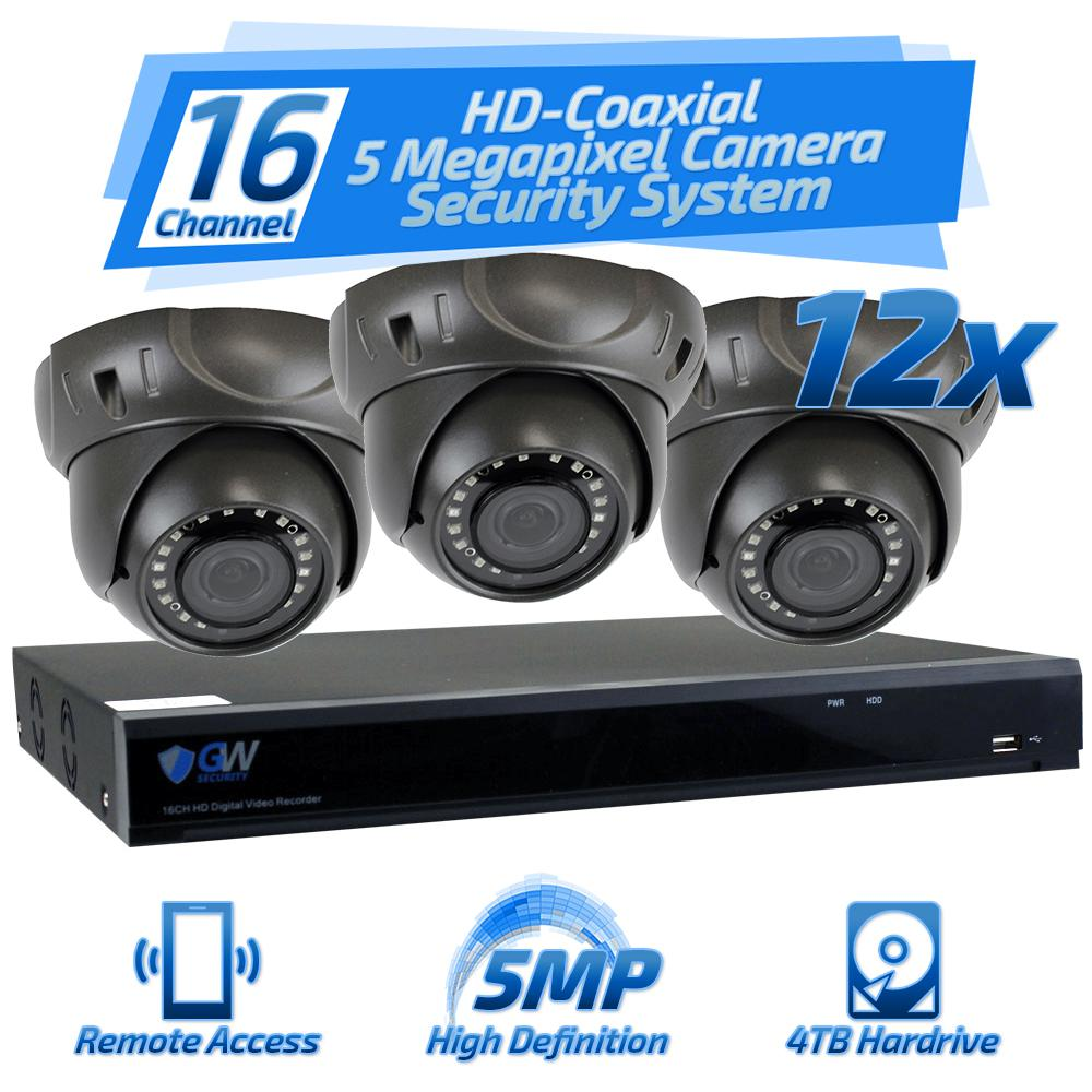 16-Channel HD-Coaxial 5 Megapixel Security Surveillance System with 12 Cameras
