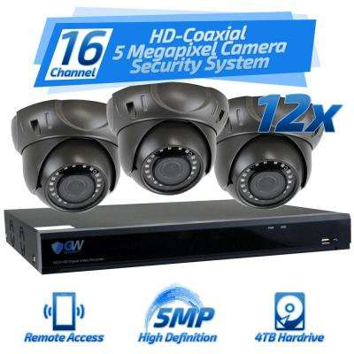 16-Channel HD-Coaxial 5 Megapixel Security Surveillance System with 12 Cameras GW537HD and 4TB HDD