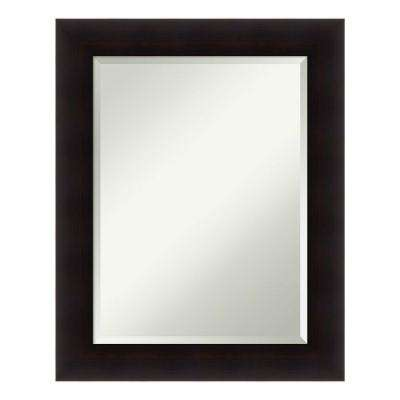 Portico Espresso Wood 24 in. x 30 in. Contemporary Bathroom Vanity Mirror