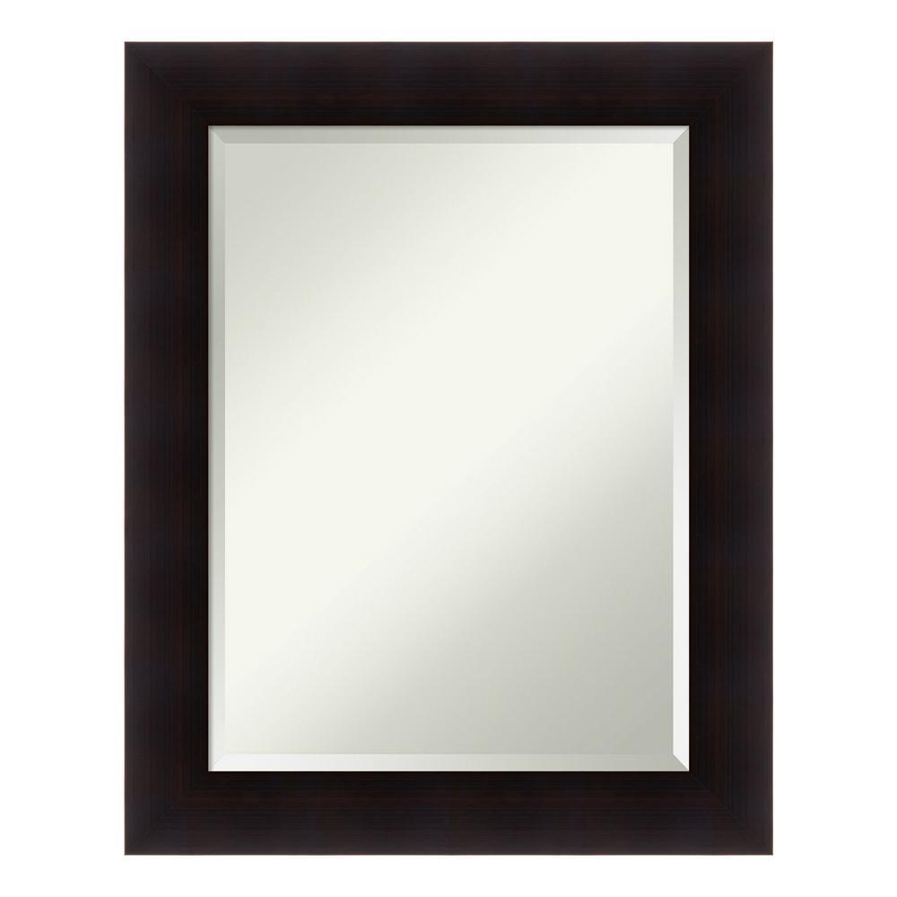 Amanti Art Portico Espresso Wood 24 in. x 30 in. Contemporary Bathroom Vanity Mirror