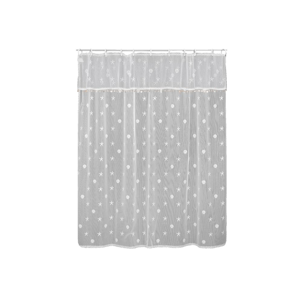 Sand Shell In White Shower Curtain