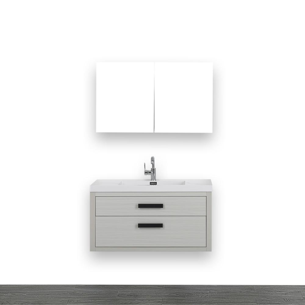 Streamline 39.4 in. W x 19.5 in. H Bath Vanity in Gray with Resin Vanity Top in White with White Basin and Mirror