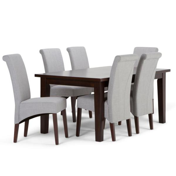 Avalon 7 Piece Dining Set With 6 Upholstered Chairs In Dove Grey Linen Look Fabric And 66 Wide Table