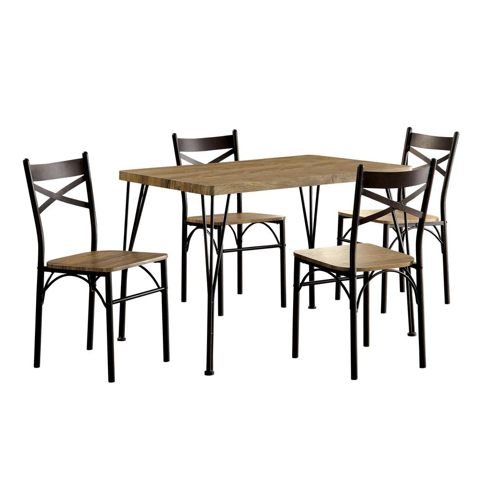 Stasel 5 Piece Grey And Dark Bronze Dining Set