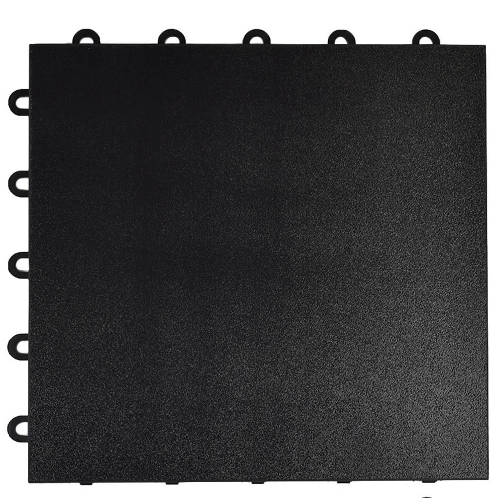 Max Tile 1 ft. x 1 ft. x 5/8 in. Black Snap Together Portable Plastic Vinyl Tile Dance Flooring (26 sq. ft. Per Case)