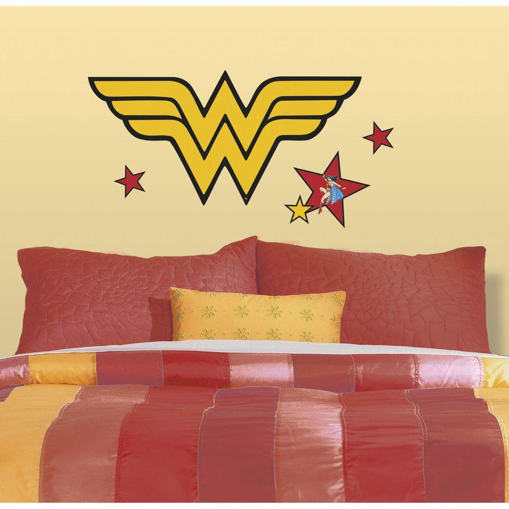 RoomMates 5 in. x 19 in. Classic Wonder Woman Logo Peel and Stick Giant Wall Decals
