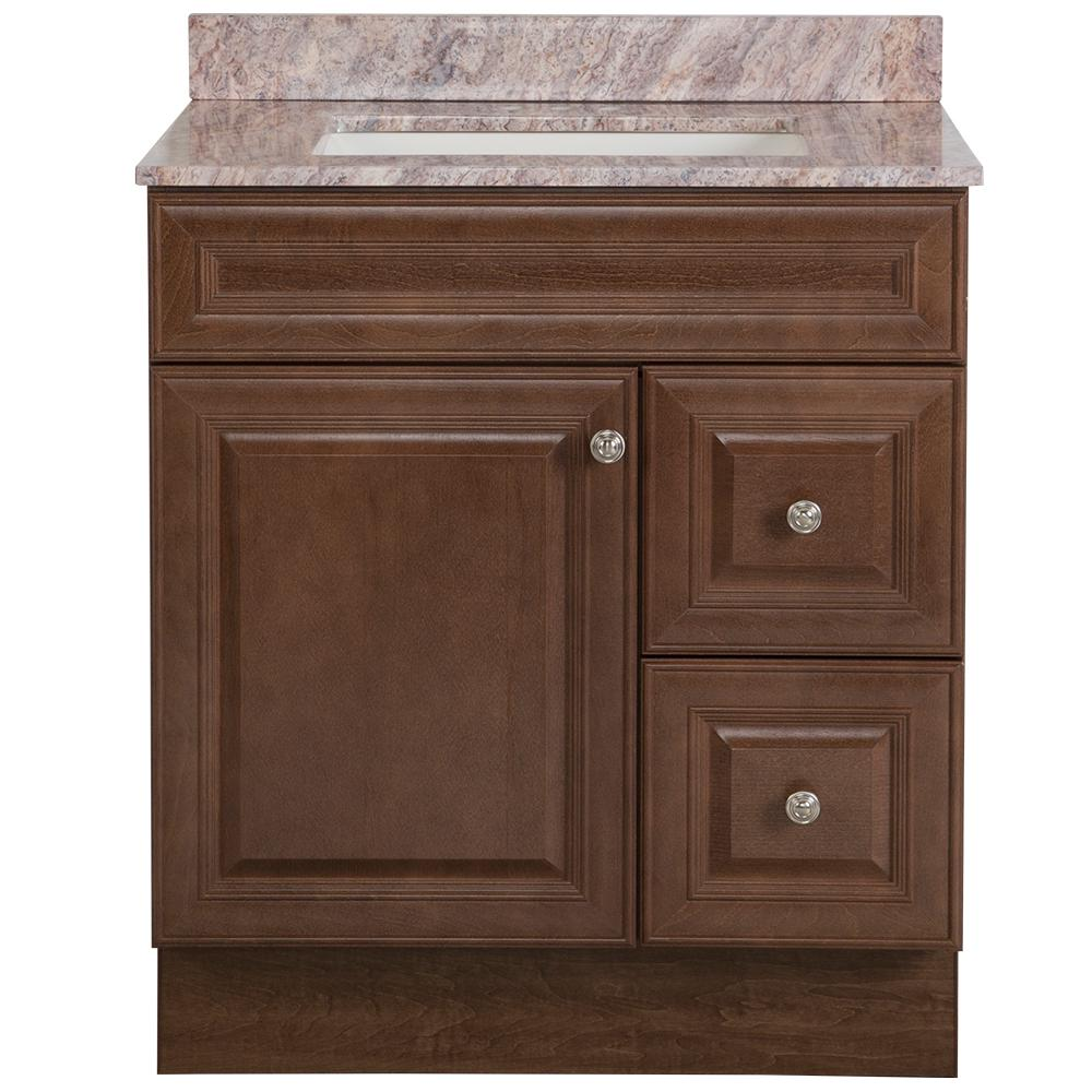 Glacier Bay Glensford 31 in. W x 22 in. D Bath Vanity in Butterscotch with Stone Effects Vanity Top in Cold Fusion with White Sink