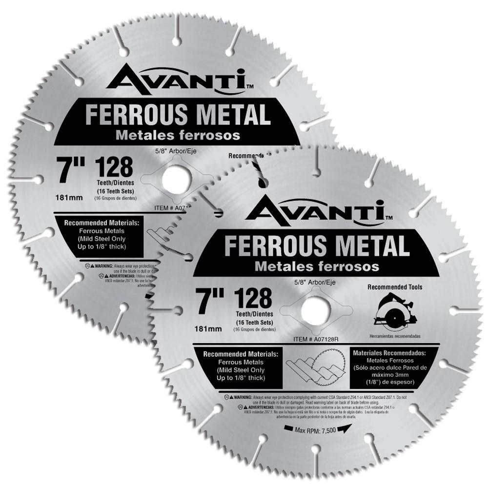 7 in. x 128-Teeth Ferrous Metal Saw Blades (2-Pack)