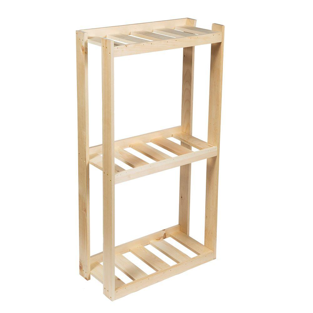 Crates & Pallet 31 in. 3-Shelf Wood Shelving Unit in Unfinished ...
