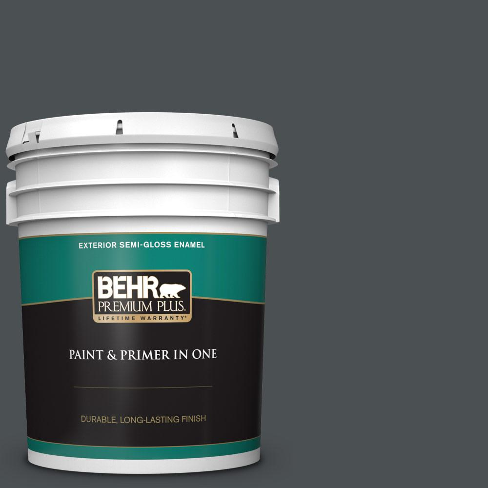 Behr Premium Plus 5 Gal Ppu26 01 Satin Black Semi Gloss Enamel