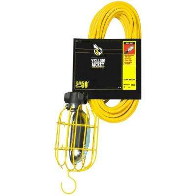 75-Watt 50 ft. 16/3 SJTW Incandescent Portable Heavy-Duty Guarded Trouble Work Light with Hanging Hook