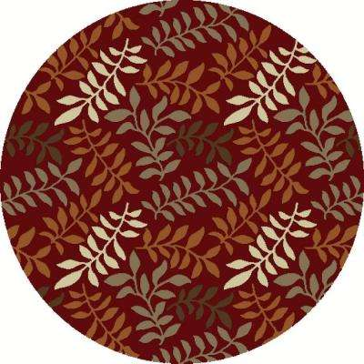 Chester Leafs Red 5 ft. Round Area Rug