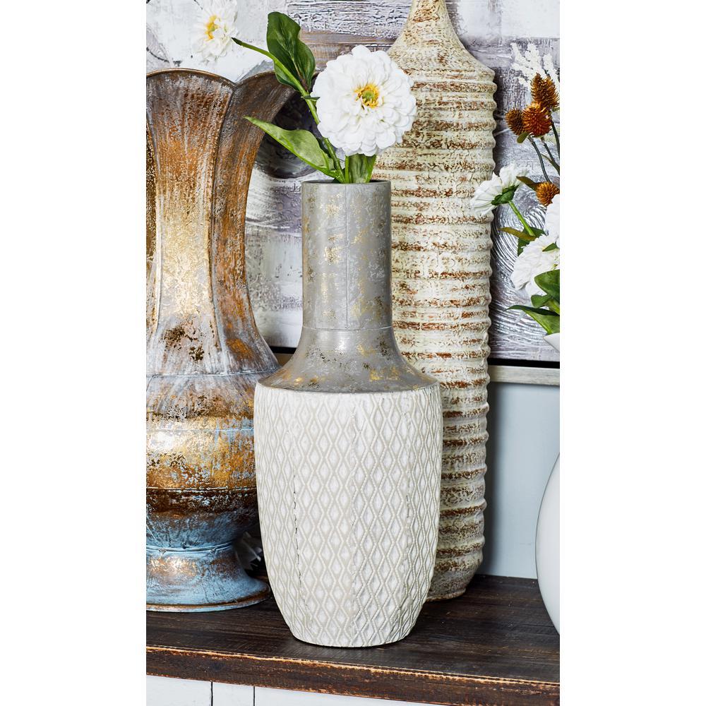 Litton Lane 20 in. White Iron Decorative Vase with Lekthos-Type Body
