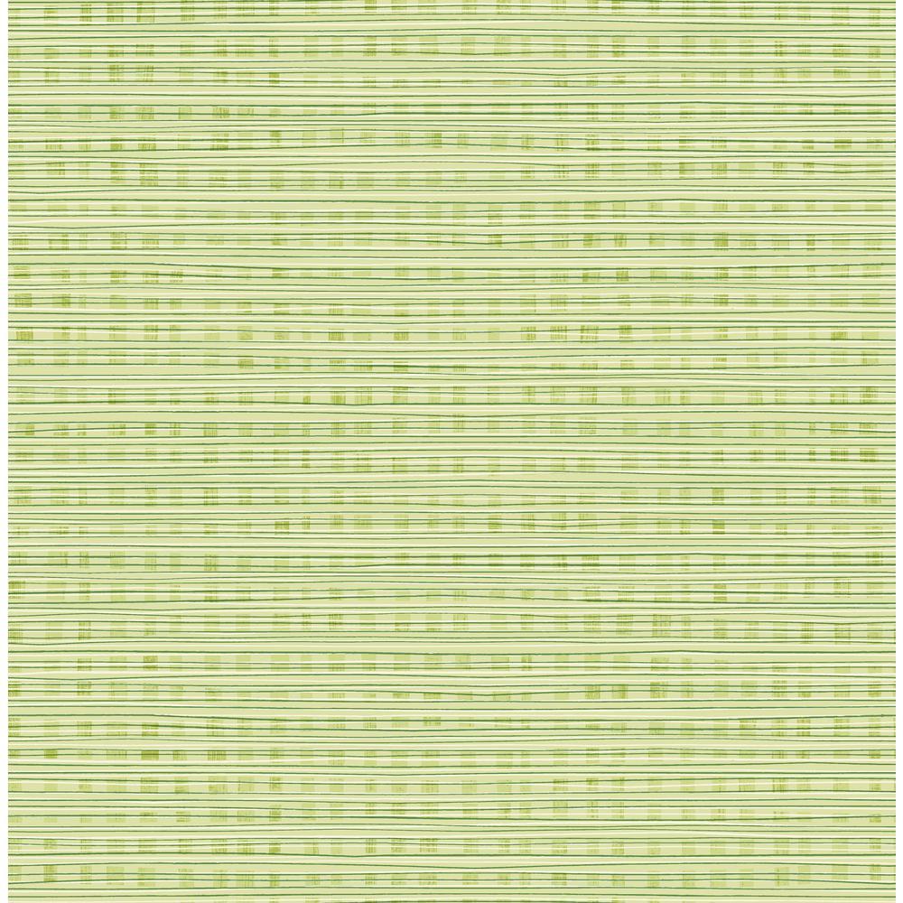 Seabrook Designs Kids Green Apple Striped Weave Wallpaper Da61304