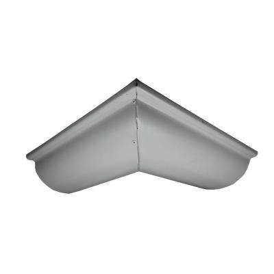 6 in. Half Round Pearl Gray Aluminum Outside Miter