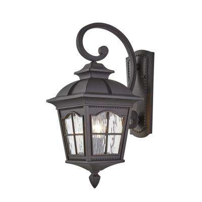 Square 2-Light Black Outdoor Wall Mount Lantern with Clear Water Glass