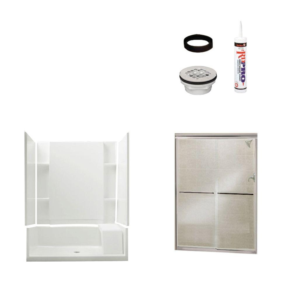 STERLING Accord Seated 36 in. x 60 in. x 74-1/4 in. Shower Kit with Shower Door in White/Chrome-DISCONTINUED