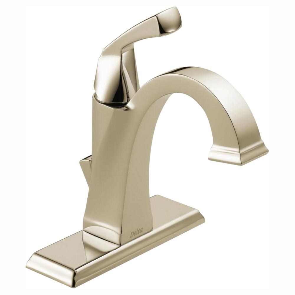 Delta Dryden Single Hole Single-Handle Bathroom Faucet with Metal Drain Assembly in Polished Nickel